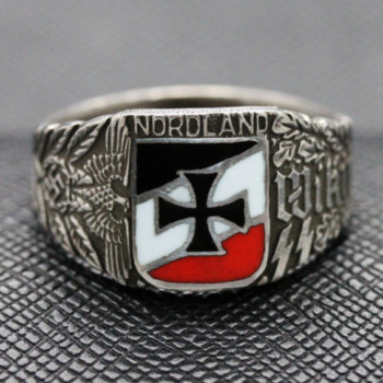 German ss ring WIKING NORDLAND SILVER