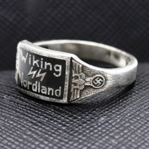 GERMAN WW2 NAZI WIKING NORDLAND WAFFEN SS DIVISION silver RING