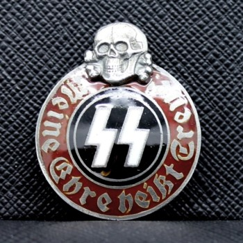 GERMAN NAZI WAFFEN SS SKULL & RUNIC PARTY BADGE