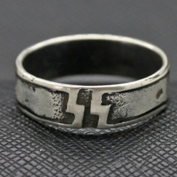 German WW2 12th SS Panzer Division silver ring