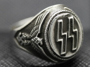 German ss ring silver eagle swastika
