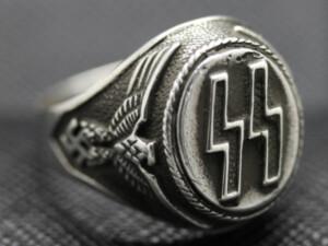 German ss ring silver eagle swastika