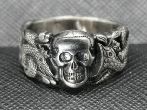 Ring SS WWII German Skull Snakes Anti partisan dark