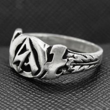 German Ring SS WWII BRÄUNENHERND SA silver