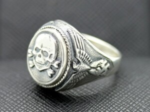 GERMAN SS TOTENKOPF silver ring WW2