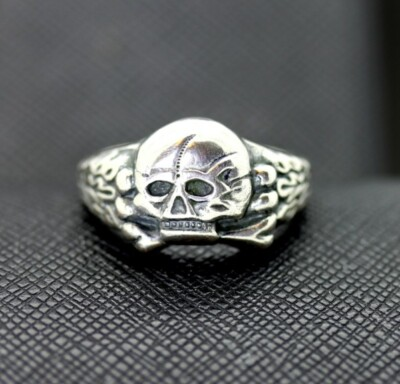 WW2 German waffen ss panzer officers skull ring