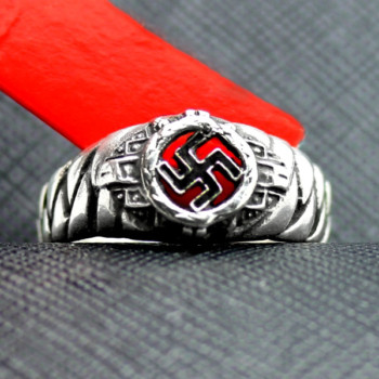 German ring swastika silver elite plait