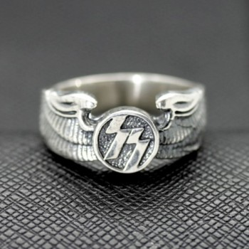 German ring ss symbol eagle wings silver ring