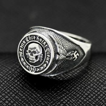 WW II GERMAN SS TOTENKOPF silver ring WW2