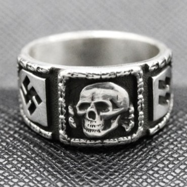 SS totenkopf ring german nazi ring silver
