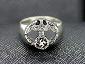 German silver ring eagle swastika elegant