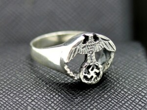 German silver ring eagle swastika elegant