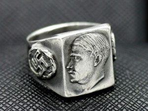 GERMAN RING SS ADOLF HITLER SWASTIKA SILVER