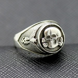 WWII SS Death Head silver ring German rings totenkopf
