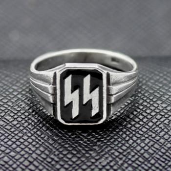 German Ring SS black enamel silver