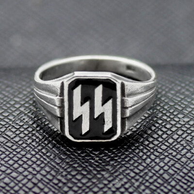 German Ring SS black enamel silver