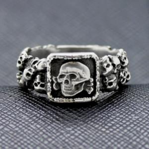 German ring ss totenkopf silver beautiful skulls