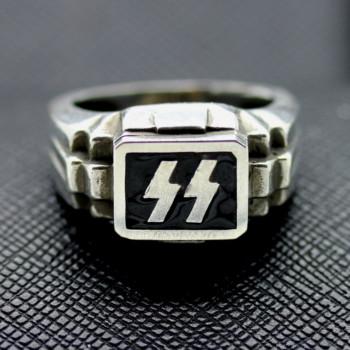 German Ring SS rune black enamel silver