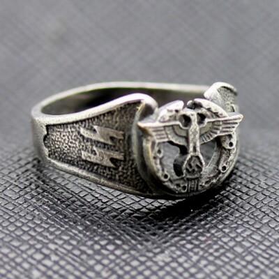 German ss ring waffen ww2 eagle swastika silver