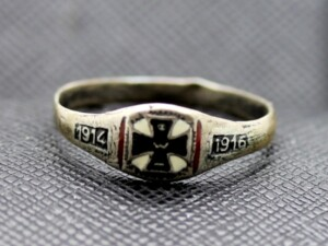 GERMAN RING WW1 IRON CROSS IMPERIAL 1914 1916 SILVER