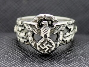 GERMAN SILVER RING EAGLE SWASTIKAGERMAN SILVER RING EAGLE SWASTIKA