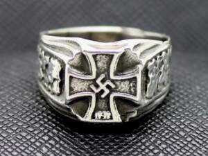 RINGS SS GERMAN IRON CROSS SWASTIKA SILVER