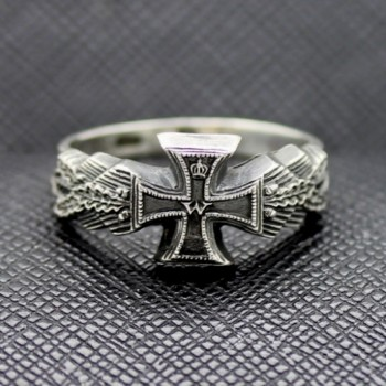 GERMAN RING 1914 IMPERIAL SILVER PATRIOTIC WITH IRON CROSS