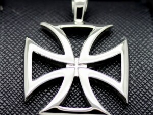 german iron cross in sterling silver necklace