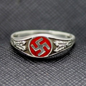 GERMAN SS RING NAZI SWASTIKA SILVER RING FOR SALE