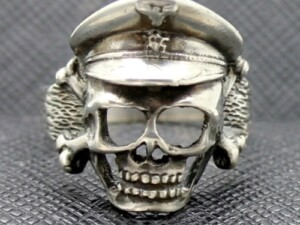 German ring ss officer cap skull totenkopf silver