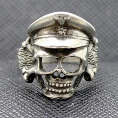 German ring ss officer cap skull totenkopf silver
