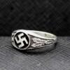Black enamel silver ring